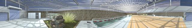 A panoramic rendering of the greenhouse interior